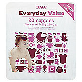 Tesco Everyday Value Nappies Maxi, 20 Pack