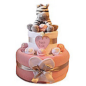 Baby girl pink Nappy Cake with Zebra (Two Tier)