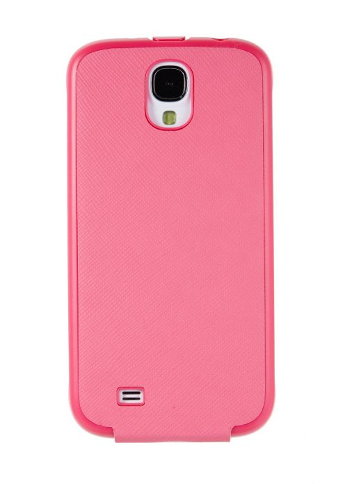 Samsung Elite Saffiano Pattern Passport Leather Vertical Flip Case for Galaxy S4 - Pink
