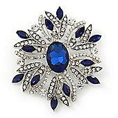 Stunning Navy Blue, Clear Austrian Crystal Corsage Brooch In Rhodium Plating - 60mm Length