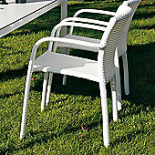 Varaschin Cafeplaya Dining Chair with Arms by Varaschin R and D (Set of 2) - White - Panama Azzurro
