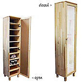 Solid Wood Shoe Organiser / Storage Cupboard With Mirror