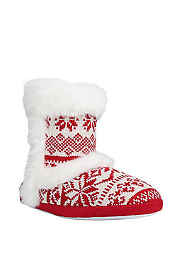 F&F Faux Fur Trim Fair Isle Bootie Slippers - Red & White