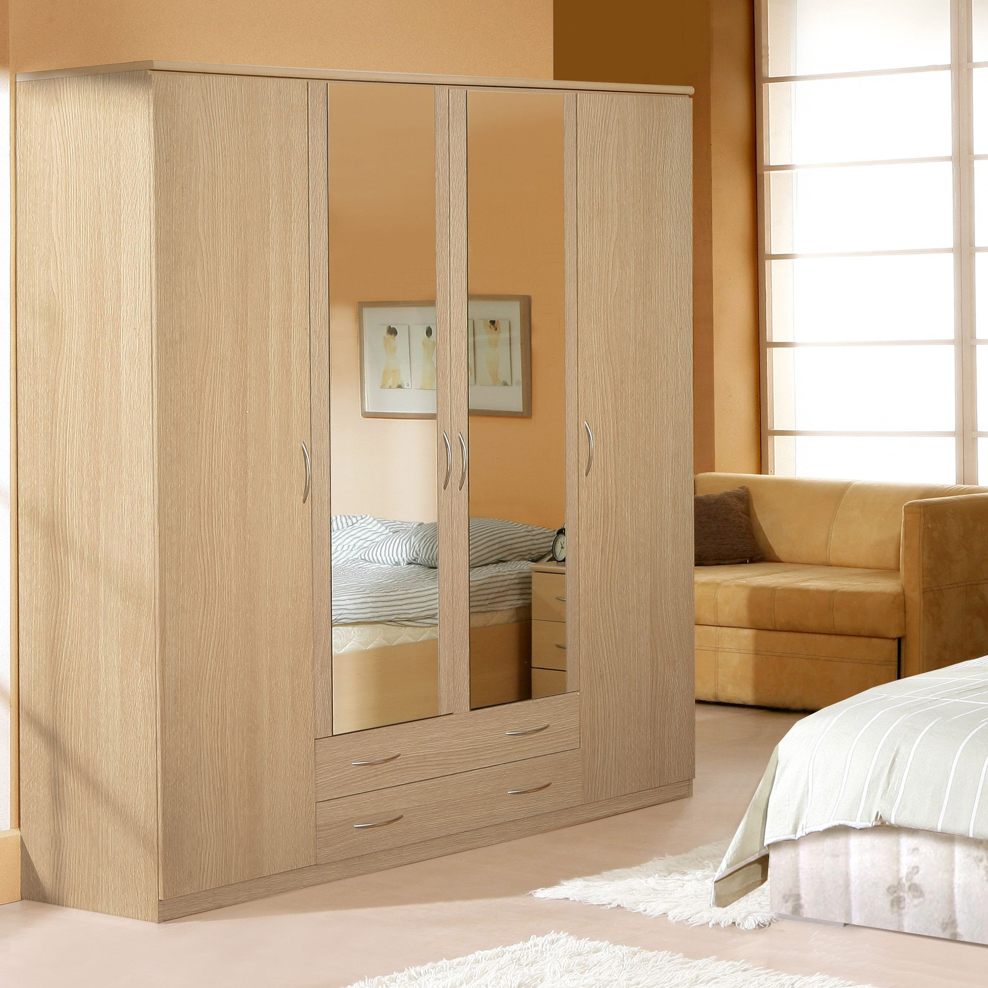 Ideal Furniture Onyx Four Door Wardrobe in Yorkshire Oak at Tesco Direct