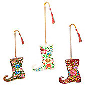 Ian Snow 3 Piece Glitter Elf Boot Ornament Set