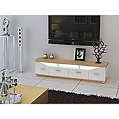 32 to 60 Inch MDF TV Stand With Multicolour LED Lights - High Gloss Beech