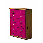 5 + 2 Chest of Drawers in Antique and Fuchsia