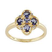 Gemondo 9ct Yellow Gold 0.79ct Natural Tanzanite & 1.6pt Diamond Classic Ring