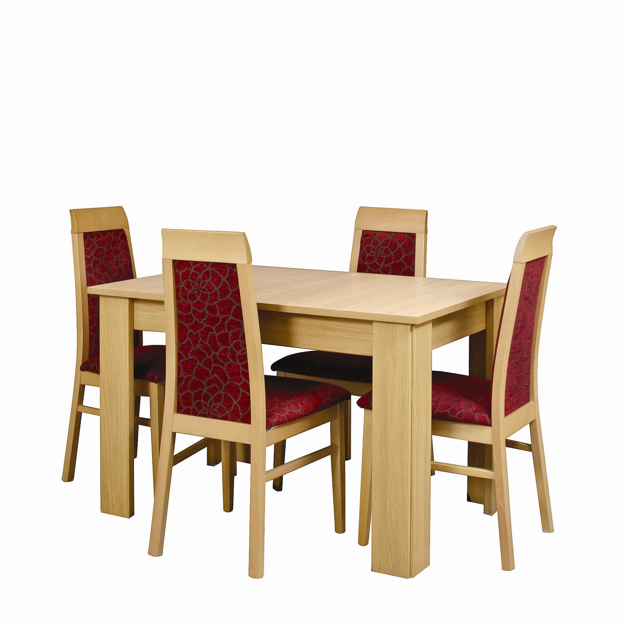 Other Caxton Huxley 4 Leg Compact Extending Dining Table with 4 Chairs in Light Oak