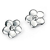 Children's D for Diamond Silver Flower Stud Earrings
