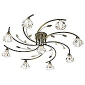 Traditional Antique Brass Ceiling Light with Nin Glass Shades