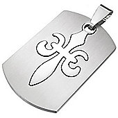 Urban Male Stainless Steel Fleur-de-Lys Cut Out Dog Tag Pendant