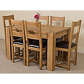 Kuba Chunky Solid Oak 125 cm Dining Table with 6 Lincoln Chairs
