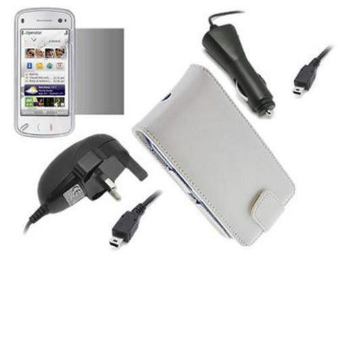 White Flip Case, LCD Screen Protector, Car Charger, Mains Charger - Nokia N97