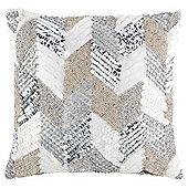 Beaded cushion silver