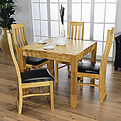 Furniture Link Eve 4 Chair Dining Room Set with Square Dining Table (5 Pieces)