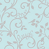 Live Love Laugh Scroll Wallpaper - Teal and Silver - FD40288