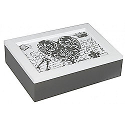 Loveletters - Keepsake / Trinket Storage Box - White / Grey