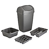 Tesco 4-piece 50L Bin Set, Platinum