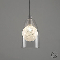 MiniSun Nocturno Clear Glass LED Ceiling Pendant Shade with Sparkle Globe Bulb