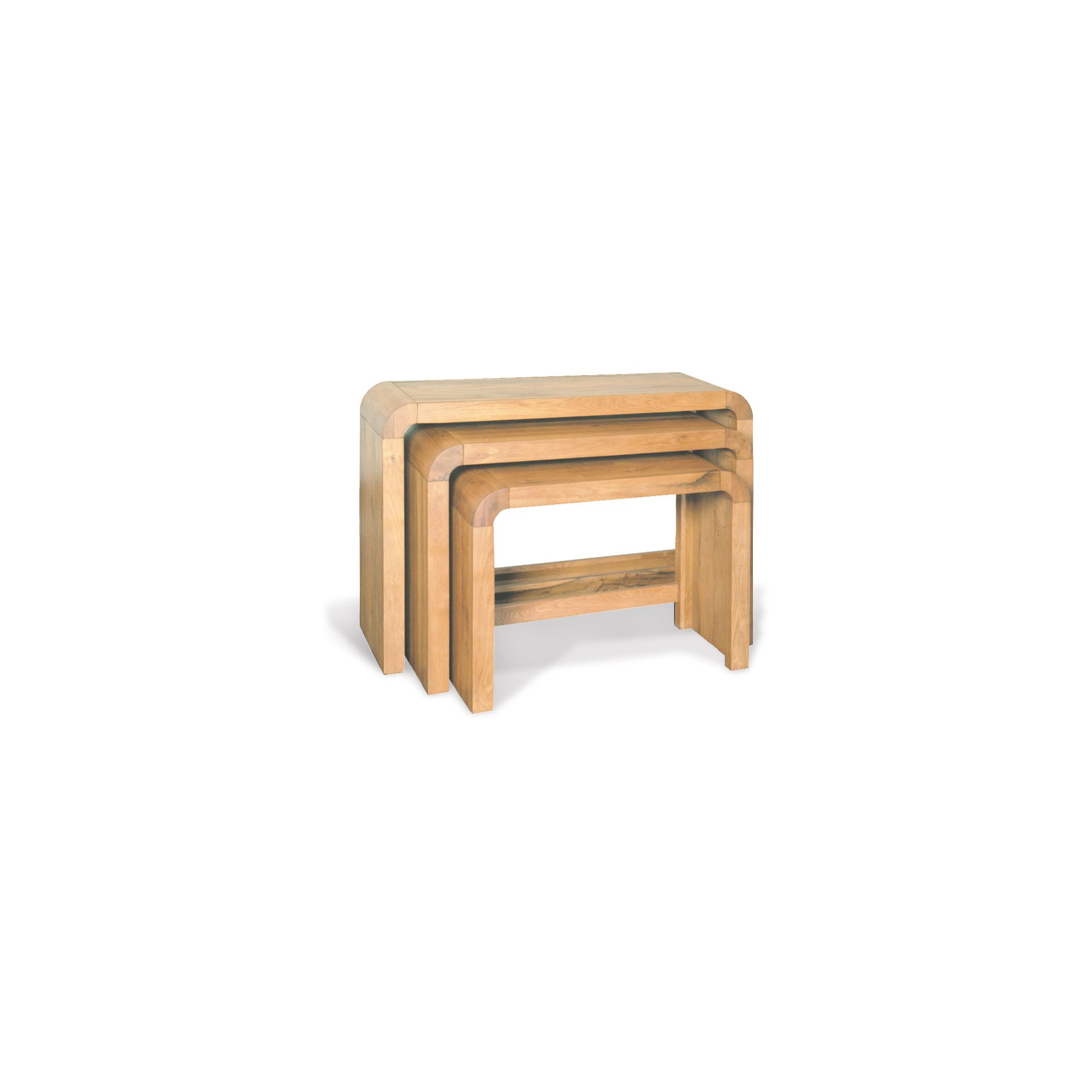 Oceans Apart Cadence Oak Living Consol Table Nest Of 3 at Tesco Direct
