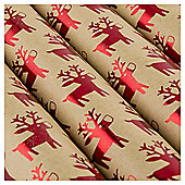 Tesco Kraft Reindeer Christmas Wrapping Paper, 3m