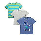Mothercare Baby Newborn Boy's Dinosaur, Stripe and Plain T-Shirts - 3 Pack