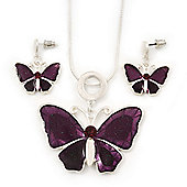 Violet/Purple Glass 'Butterfly' Necklace & Drop Earrings Set In Silver Tone - 38cm Length/ 5cm Extension