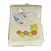 First Steps Supersoft Fleece Baby Blanket Cream Caterpillar 75x100cm