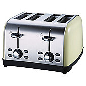 Tesco 4 Slice SS colour Toaster - Cream