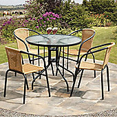Suntime Bambi 90cm 5 Piece Brown Rattan Dining Set