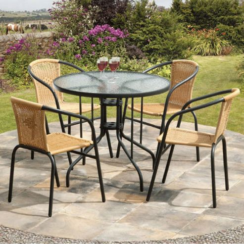 Buy Suntime Bambi 90cm 5 Piece Brown Rattan Dining Set From Our Garden Furnit