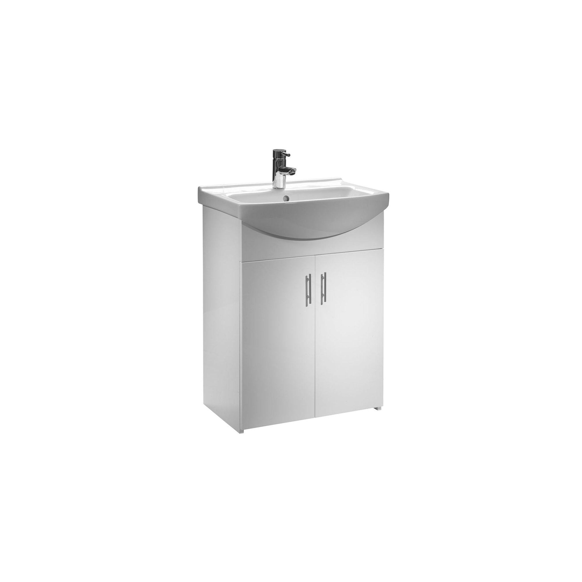 Tavistock Opal White Floor Standing Cabinet and Basin - 1 Tap Hole - 600mm Wide