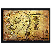 The Hobbit Black Wooden Framed Map of Middle Earth Poster
