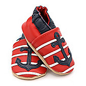 Dotty Fish Soft Leather Baby Shoe - Red and Navy Anchor - 2-3 yrs