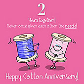 2nd Wedding Anniversary Greetings Card - Cotton Anniversary
