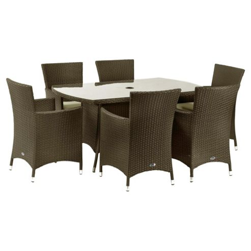 Royalcraft Cannes 150cm Rect Dining Set & 6 Carvers - Brown