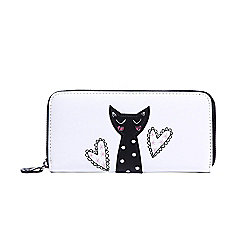 Cream Cat Applique Zip Around Purse