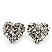 Romantic Pave-Set Diamante 'Hear' Stud Earrings In Silver Plating - 2cm Length