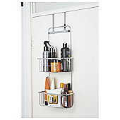 Croydex Hook Over Door Two Tier Storage Basket, Chrome