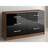 Birlea Lynx Six Drawer Chest - Black and Walnut