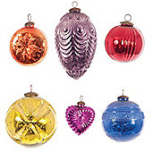 Ian Snow 6 Piece Funky Glass Ornament Set