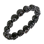 Urban Male Black Ceramic Skull Bead Bracelet