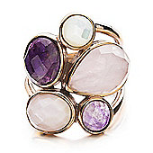 Shimla Ladies White/Pink Shell & Purple/Pink Agate Ring - SH-209SM