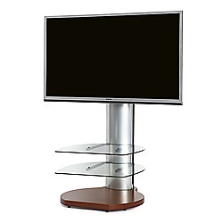 Off The Wall Origin II TV Stand - Cherry base / Silver sides / Clear glass