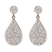 Jewel and Gem Silver drop earrings with pave teardrop shape