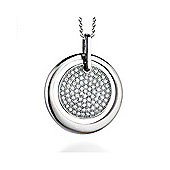 REAL Effect Rhodium Plated Sterling Silver White Cubic Zirconia Circle in a Circle Charm Pendant - 16/18 inch
