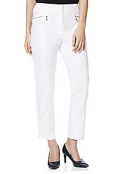 F&F Zip Detail Slim Leg Trousers - White