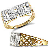Jewelco London 9ct Solid Gold super light weight CZ set Dad Ring