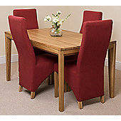 Bevel Solid Oak 150 cm with 4 Lola Fabric Chairs (Red)